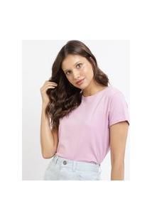 Blusa Feminina Básica Pantone Manga Curta Decote Redondo Rosa Claro
