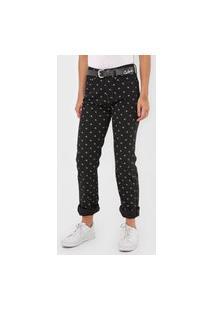 Calça Sarja Calvin Klein Jeans Reta Monograma Preta