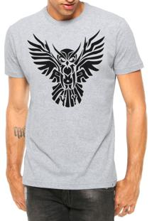 Camiseta Criativa Urbana Coruja Asas Abertas Tribal Tattoo Manga Curta Cinza Mescla