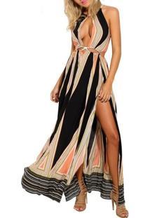 Vestido Longo Geométrico Fendas