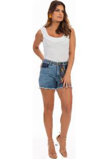 Blusa Dioxes Jeans Com Alças E Babado Branca