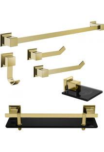 Kit Acessórios Para Banheiro 6 Peças Gold Ducon Metais Preto