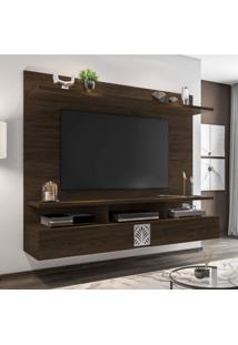"""Painel Para Tv De Até 60"""" 2 Portas Bahamas Siena Móveis Branco/Cedro"""