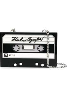 Karl Lagerfeld Bolsa Transversal Studio Kl Tape Minaudiere - Preto