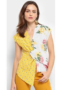 Blusa Assimétrica Jin Floral Feminina - Feminino-Amarelo