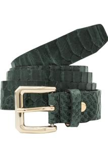 Cinto Corazzi Leather Deluxe Animal Print Snake Couro Verde