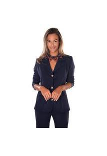 Blazer Equal Moda Inclusiva Azul Marinho
