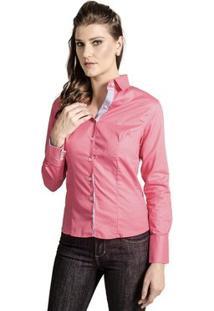 Camisa Carlos Brusman Feminina Slim Reta Poá - Feminino-Pink