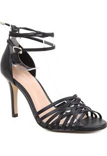 Sandália Couro Shoestock Tiras Cruzadas Salto Alto Feminina - Feminino-Preto