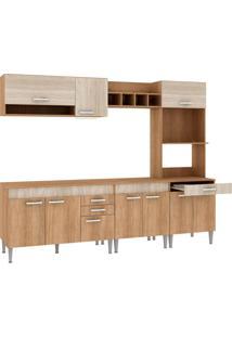 Cozinha Compacta Classic Flex Color 10 Pt 3 Gv Carvalho Com Blanche E Bordô