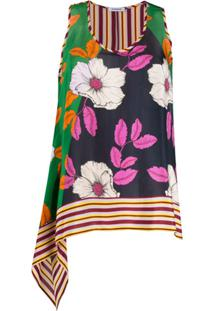P.A.R.O.S.H. Silk Flower Print Vest Top - Verde