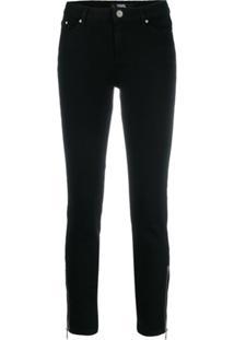 Karl Lagerfeld Calça Jeans Skinny Com Zíper - Preto