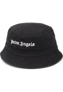 Palm Angels Chapéu Com Logo E Fivela - Preto