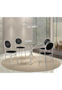 Mesa 375 Cromada Com 4 Cadeiras 190 Preta Carraro
