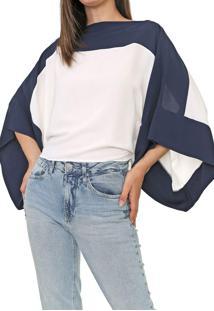 Blusa Forum Color Block Off-White/Azul-Marinho