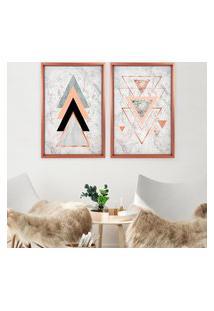 Quadro Com Moldura Chanfrada Triângulos Rose Metalizado - Médio