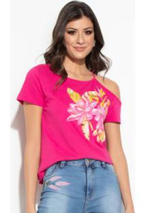 91c4106753 ... Blusa Quintess Pink Assimétrica Com Estampa