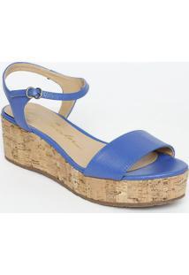 Sandália Plataforma Com Fivela & Ajuste- Azul- Saltoluiza Barcelos