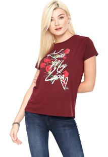 Camiseta Guess Lips Vinho