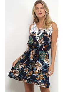 Vestido Curto Jin Renda Amarração Floral - Feminino-Azul+Verde