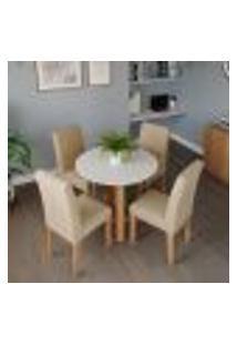 Conjunto De Mesa De Jantar Redonda Com Tampo De Vidro Flora Ii Off White E 4 Cadeiras Maia Linho Gengibre