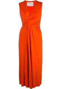 Jason Wu Collection Vestido Midi Gola V - Laranja