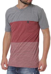 Camiseta Occy Manga Curta Masculina - Masculino-Cinza+Vermelho