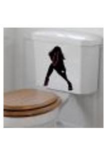 Adesivo De Banheiro Para Vaso Acoplado Mulher Sensual - Tam Único 33X22Cm