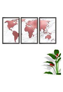 Quadro Oppen House 60X120Cm Mapa Mundi Rose Moldura Sem Vidro Fundo Branco Altas Países Decorativo Interiores