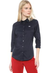 Camisa Tommy Hilfiger Slim Logo Azul-Marinho