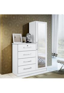 Cômoda Belize Plus 4 Gavetas Porta Com Espelho Em Branco Textura Albatroz Moveis