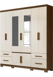 Guarda-Roupa Casal Com Espelho Porto Plus 8 Pt 4 Gv Baunilha E Castanho Wood