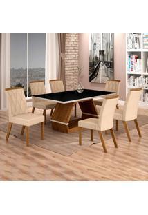 Conjunto De Mesa De Jantar Ii Com 6 Cadeira Esmeraldas Veludo Preto E Palha