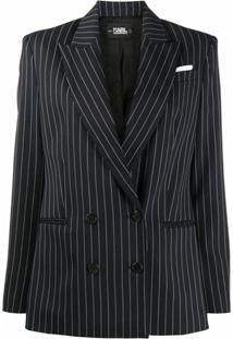 Karl Lagerfeld Blazer Risca De Giz Studio Kl - Azul