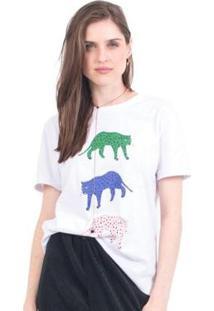 Camiseta 41Onze Tri Cheetah Feminina - Feminino-Branco