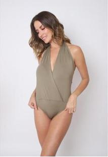 Body Feminino The Style Box C/ Decote Transpassado - Feminino-Verde Militar