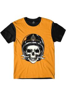 Camiseta Bsc Caveira De Capacete Mordendo Chave Inglesa Sublimada - Masculino-Laranja