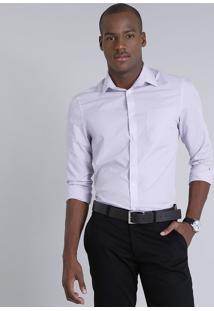 Camisa Masculina Comfort Com Bolso Manga Longa Lilás