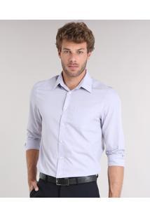 Camisa Masculina Comfort Manga Longa Com Bolso Lilás