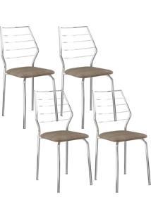 Cadeira 1716 Cromada 04 Unidades Camurça Conhaque Carraro