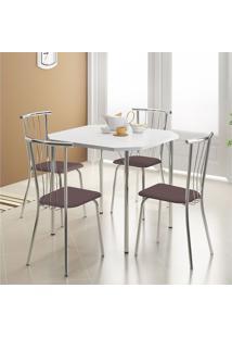 Mesa 1510 Branca Cromada Com 4 Cadeiras 154 Cromada Cacau Carraro