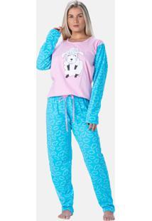 Pijama Feminino Estampado Algodáo Doce Encanto Ovelha