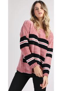 Suéter De Tricô Feminino Com Listras Decote Redondo Rosa Escuro