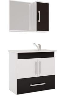 Armário Banheiro Com Espelheira E Pia Em Marmore Sintetico Branco/Preto Atenas Mgm
