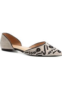 Sapatilha Shoestock Bordada Feminina - Feminino-Off White