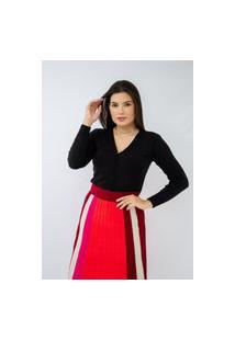 Blusa Suéter Cardigan Feminino Básico Tricot Preto