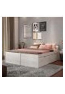 Cama De Casal Beauty Com 4 Gavetões Branco Lavado