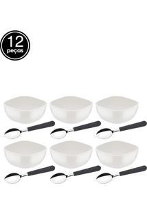 Jogo De Sobremesa 12Pçs Mix Color Mis Branco Tramontina