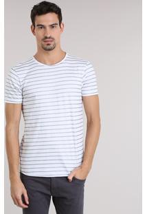 Camiseta Listrada Com Brilho Branca