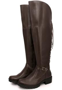 Bota Feminina Over The Knee Br2 Lady De Amarrar Cafe